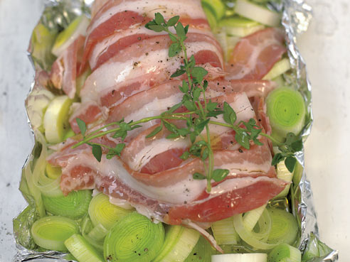 Jamie Oliver's Roasted Chicken Breast With Pancetta, Leeks And Thyme