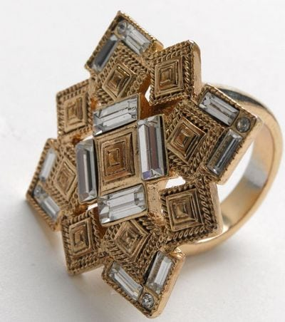 Crystal Point Ring Gold