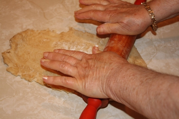 rolling pin on homemade dough