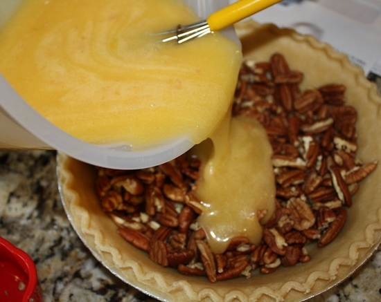 pour the butter mixture into the pecan pie