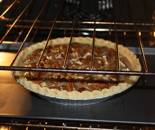 bake the pecan pie in the oven