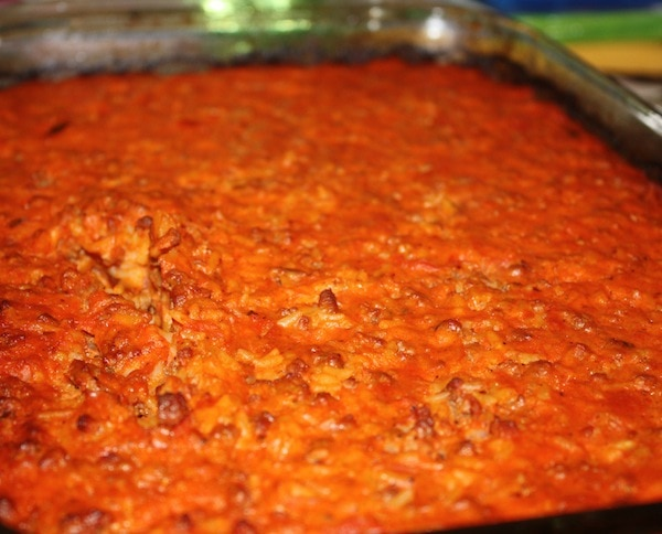 baked tomato sauce over rice