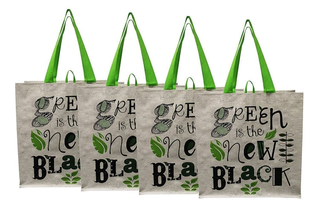 "Earthwise Large Earth Day Reusable Grocery Shopping Tote Bag featuring ""Green is the New Black"" Print"