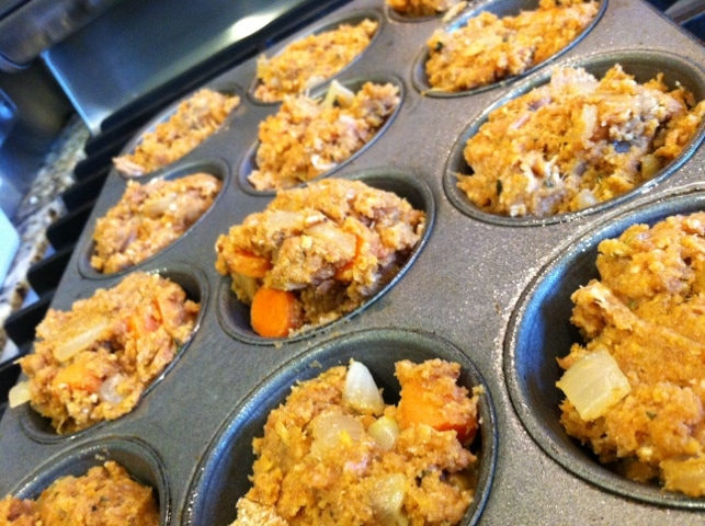 Place mini meatloaf muffins into tins