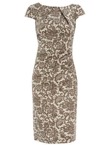 Dorothy Perkins Brown lace print pencil dress