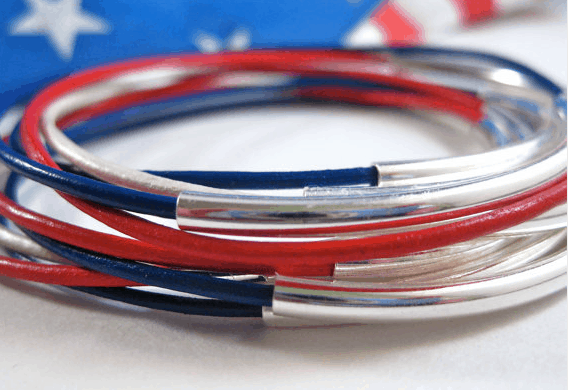 july 4th bracelets red white blue