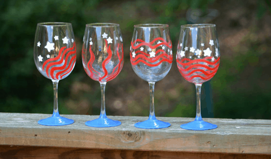 july 4th handmade wine glasses