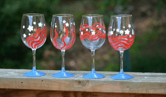 july 4th handmade wine glasses