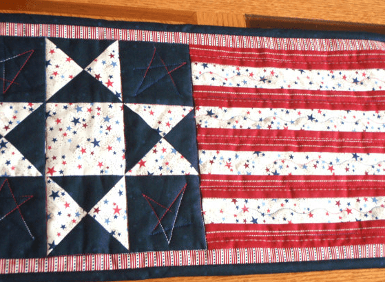 july 4th table runner flag