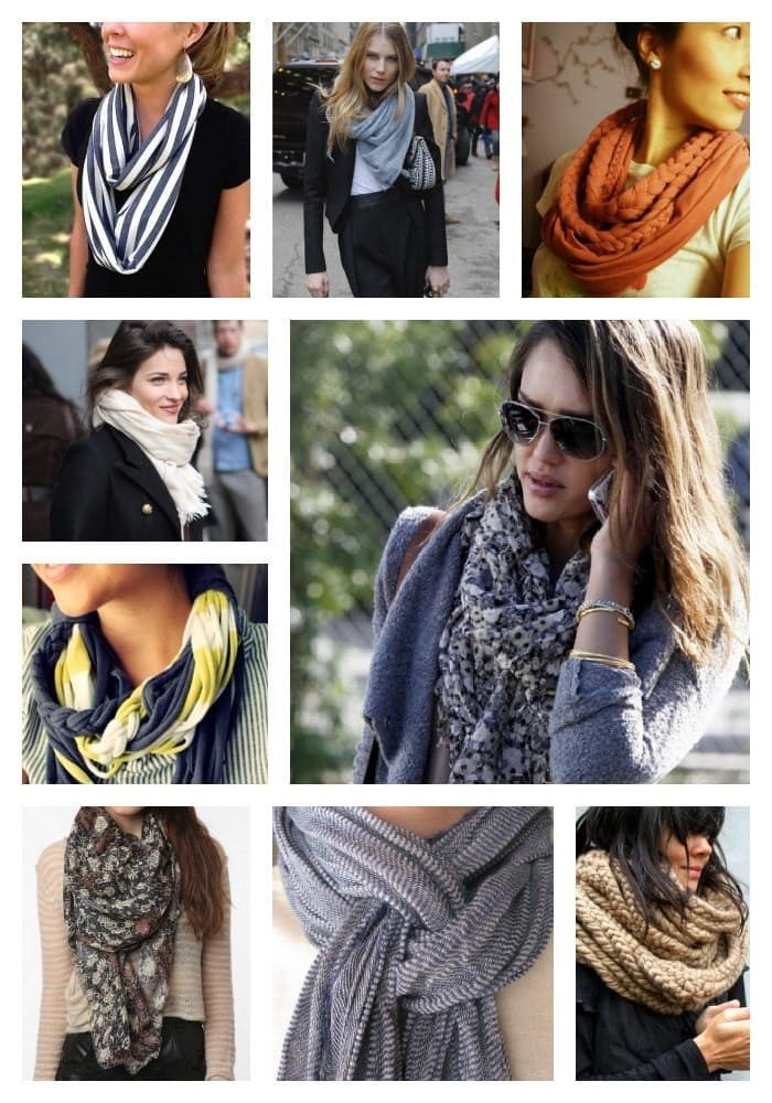 loose scarves wrapped around