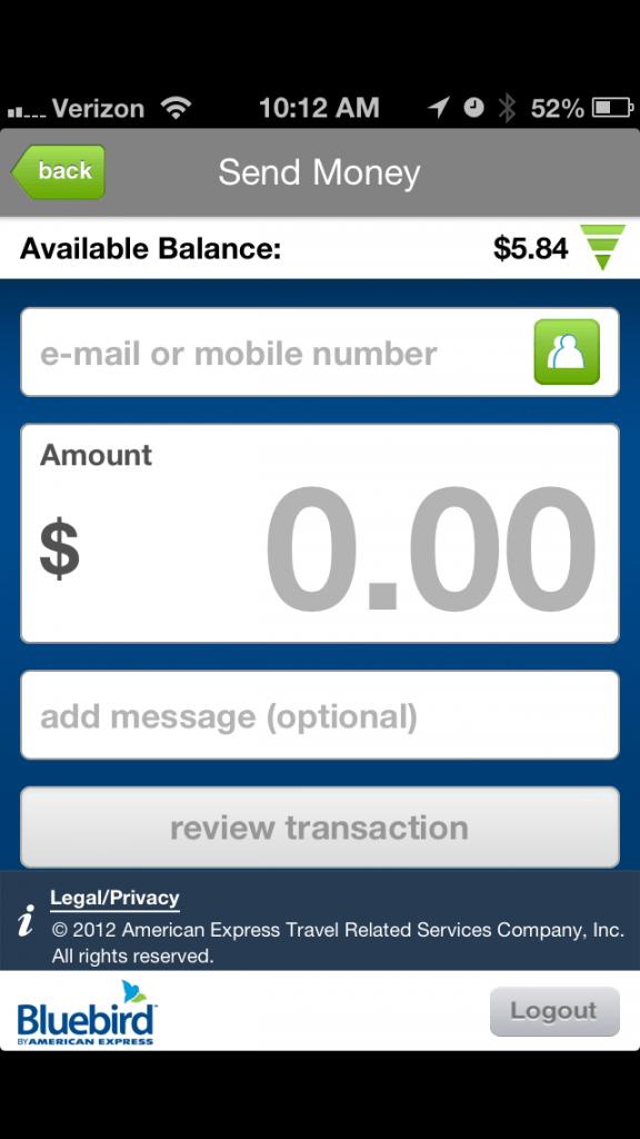 Send and request money through Bluebird app