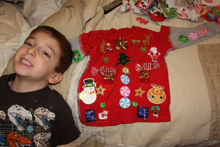 how to make a cheap ugly christmas sweater with the kids video