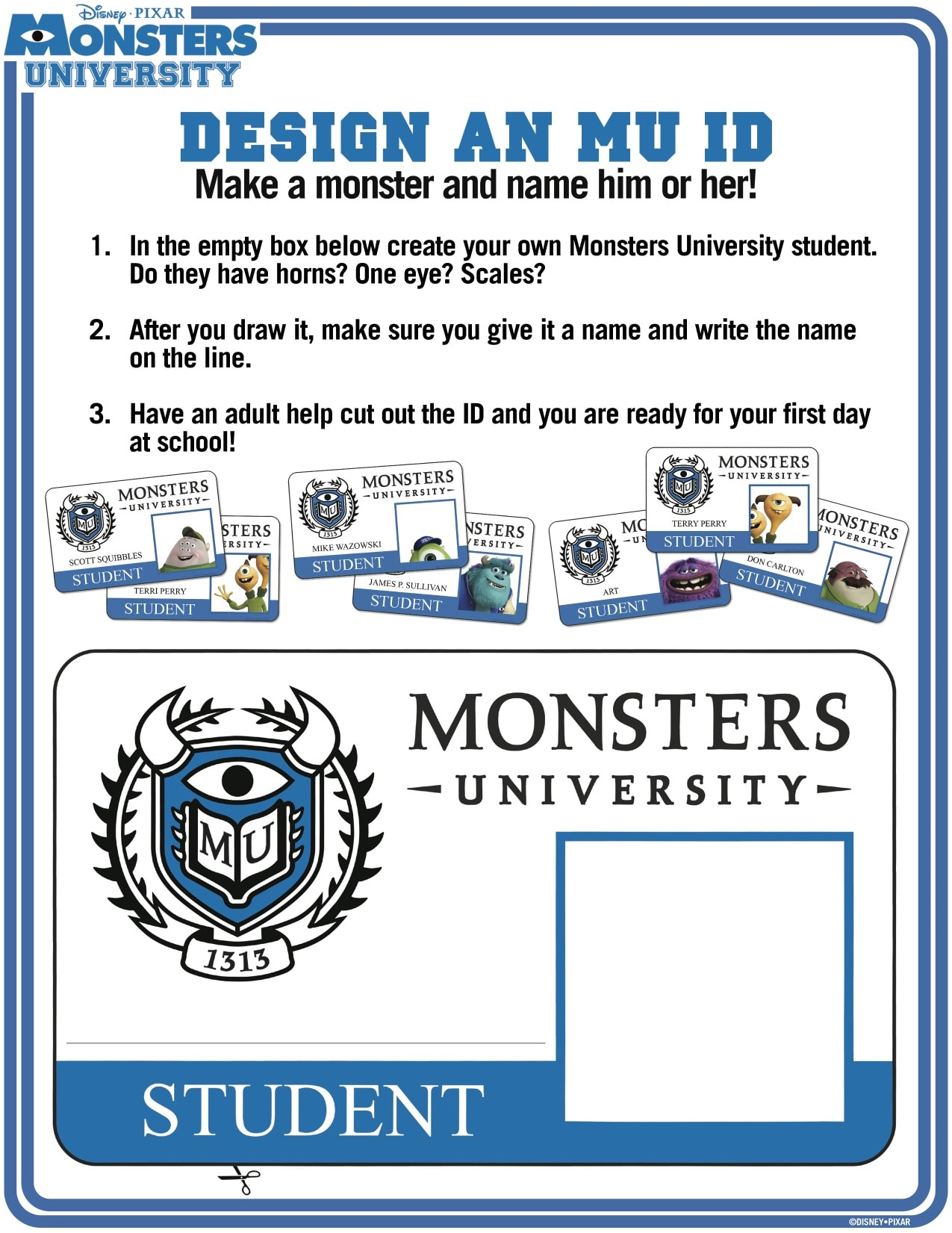 new monsters university activity sheets available to download