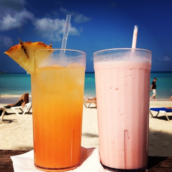 mixed drinks frozen on the beach