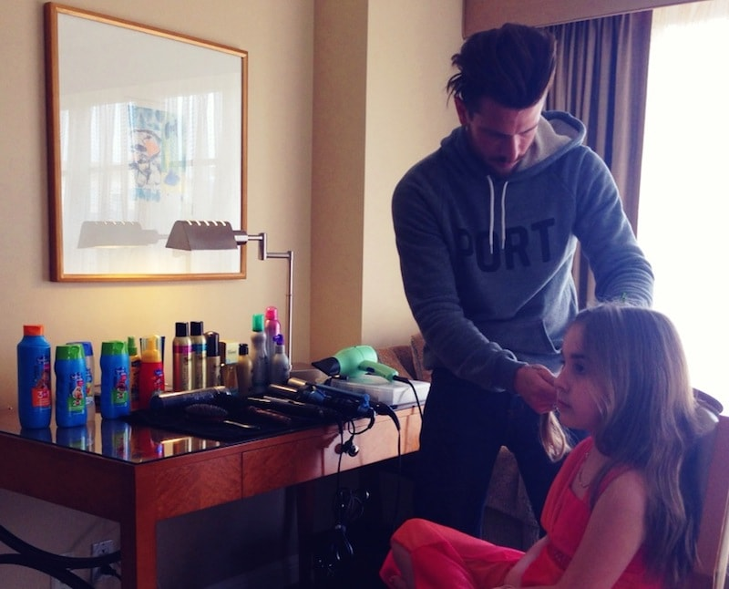 Suave Kids And Ryan Richman styling young girl's hair in LA