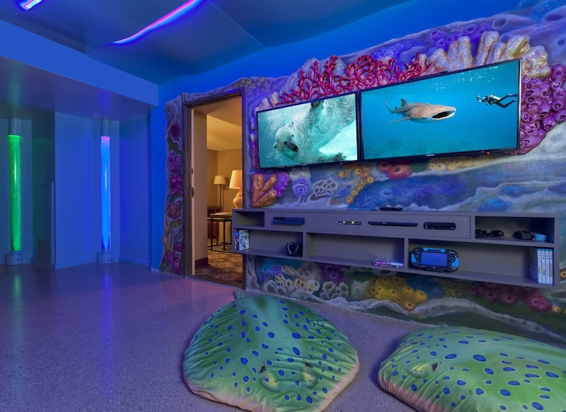 blue lights and sting ray pillows