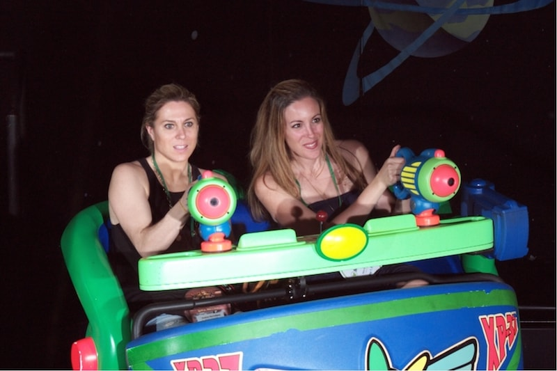 women competing on Disney ride