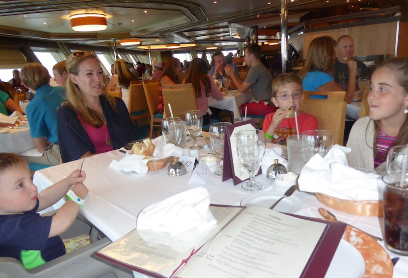 Carnival Cruise dining room and family of five