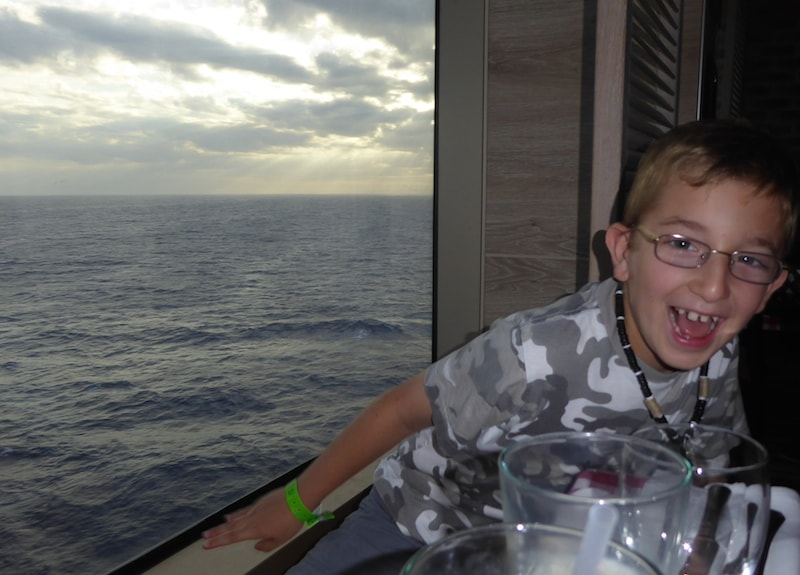 Carnival Sunshine dinner with a view
