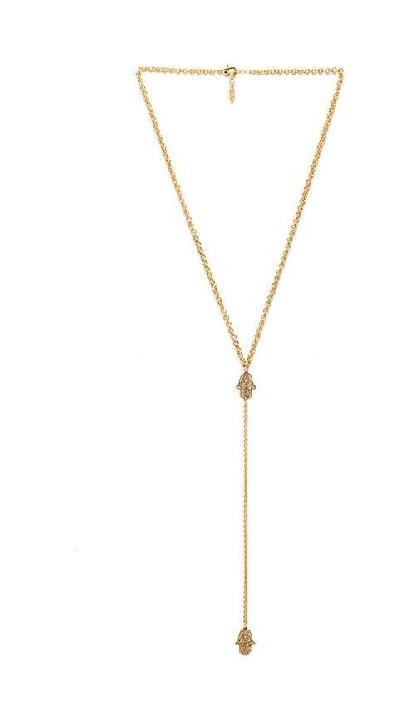 Ettika Hamsa Lariat Necklace in Metallic Gold