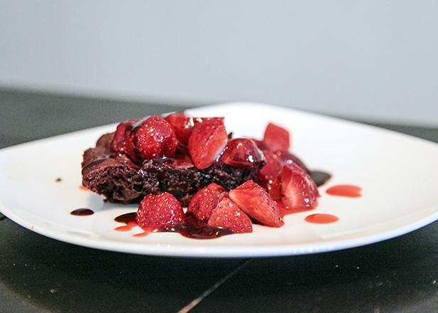 Hershey Brownies with strawberries on top