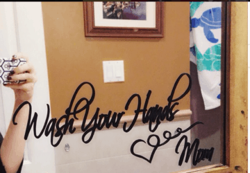 Wash your Hands Love Mom Bathroom Mirror Sign