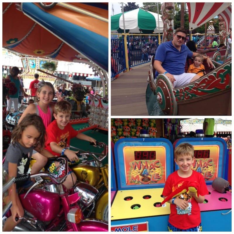 Family at AdventureLand Long Island Amusement Park Toddler Rides