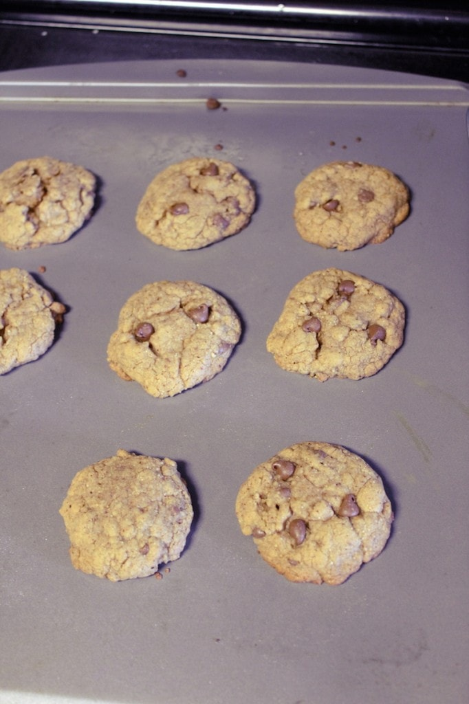 Almond Butter Cookies in oven rising