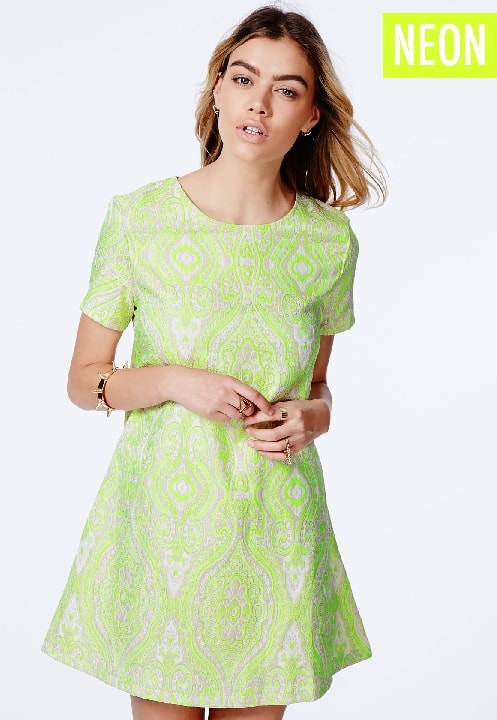 Green Neon Shift Dress In Paisley Print