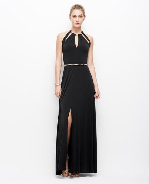 Ann Taylor Satin Jersey Chain Halter Gown