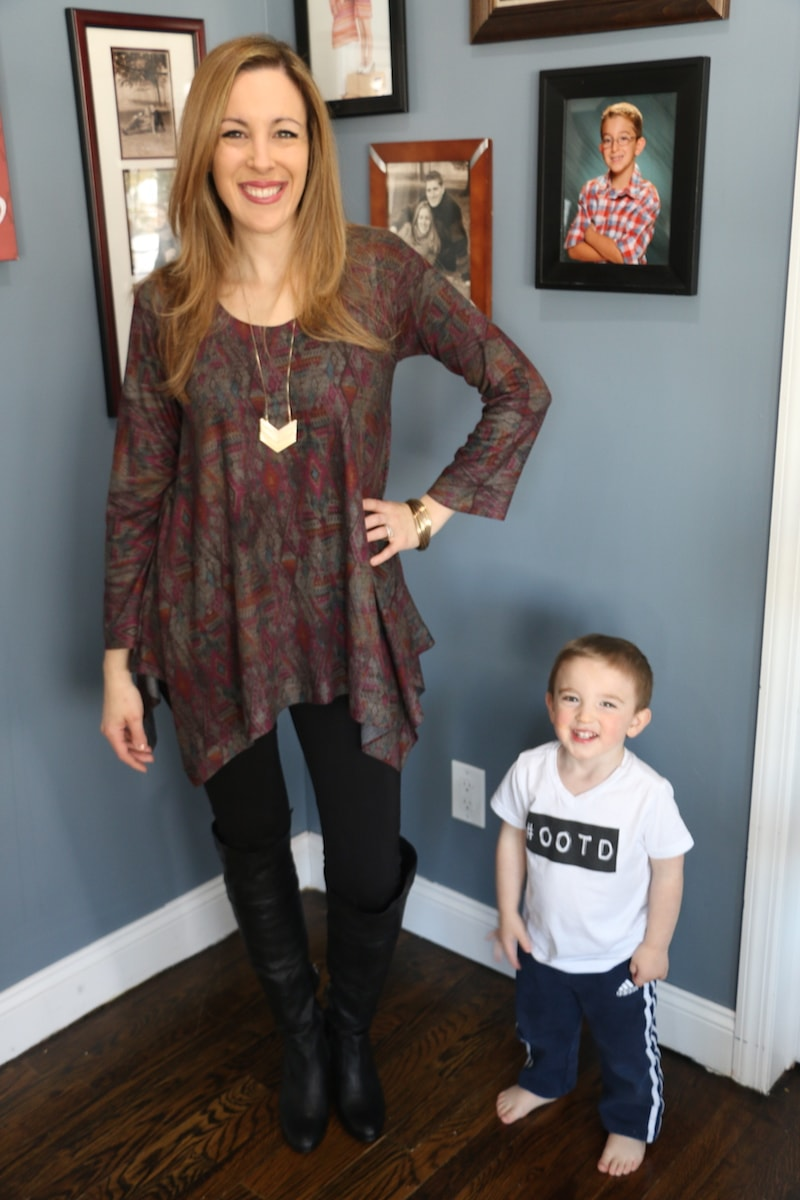 Territory Ahead CLICK IMAGE TO VIEW LARGER multiDiamond Print Heathered Knit Tunic