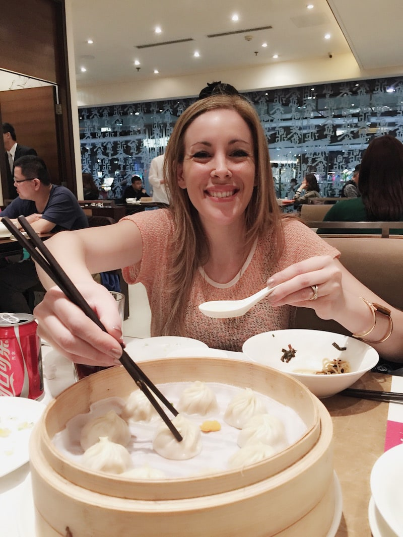 eating dumplings at the mall in China