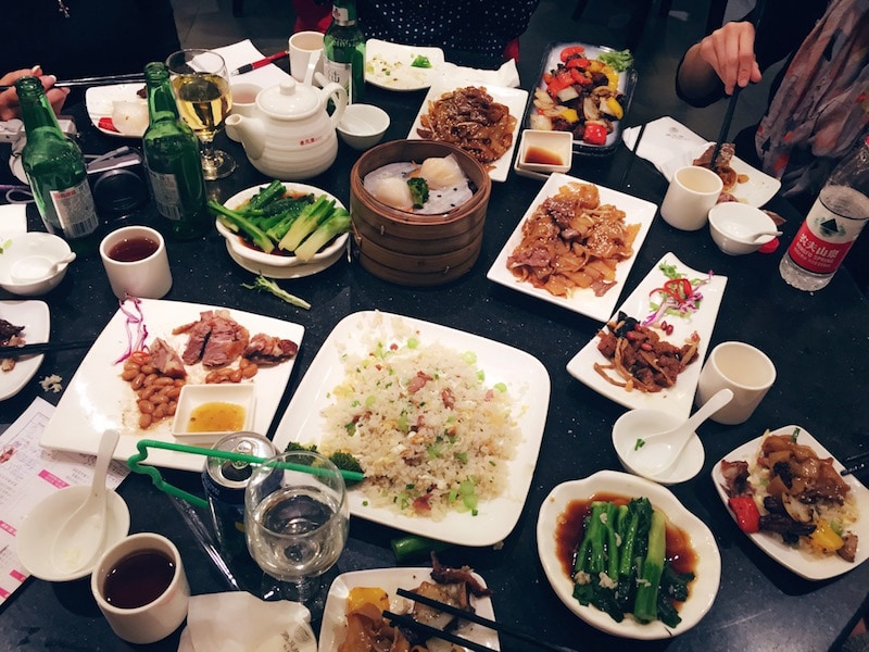 full dinner spread - small plates - in China