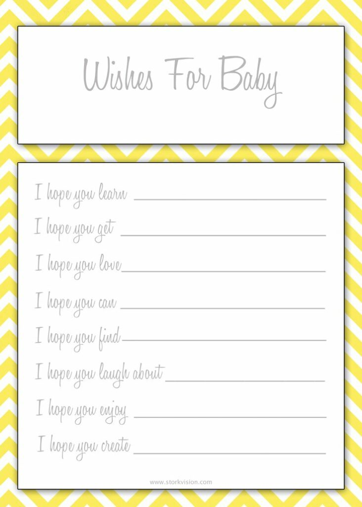 6 must have baby shower games and printables lady and for Wishes for baby template printable