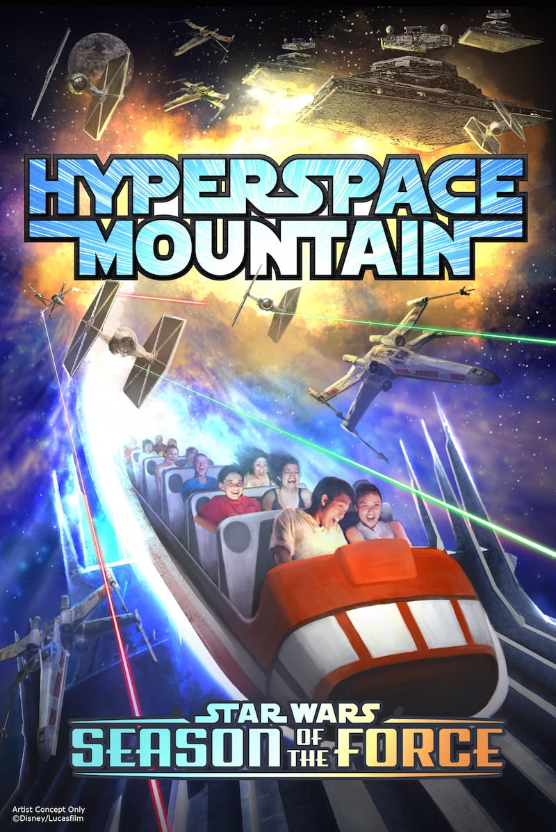 Season of the Force Coming to Disney Parks -- This new seasonal event, beginning early 2016, brings new experiences to both coasts.  In Tomorrowland at Disneyland park, guests will explore the Star Wars galaxy with special entertainment throughout the land, themed food locations and more. Guests also will be thrilled to climb aboard Hyperspace Mountain, a reimagining of the classic Space Mountain attraction, in which guests will join an X-wing Starfighter battle. At Disney's Hollywood Studios, guests will close out weekend nights with a new fireworks spectacular set to the iconic score of the Star Wars movies. (Disney Parks)