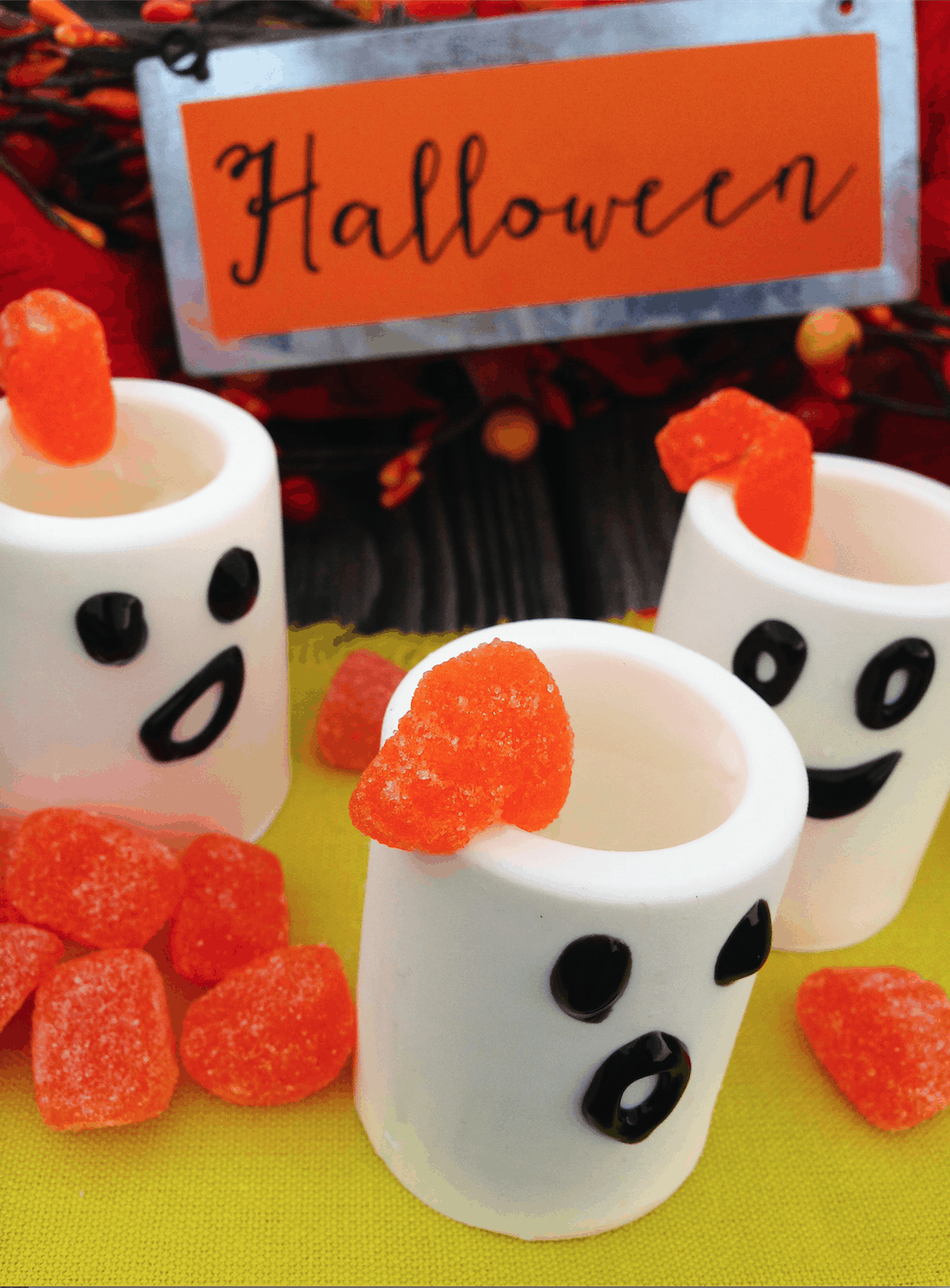 Edible Ghost Shot Glasses with Marshmallow Infused White Rum