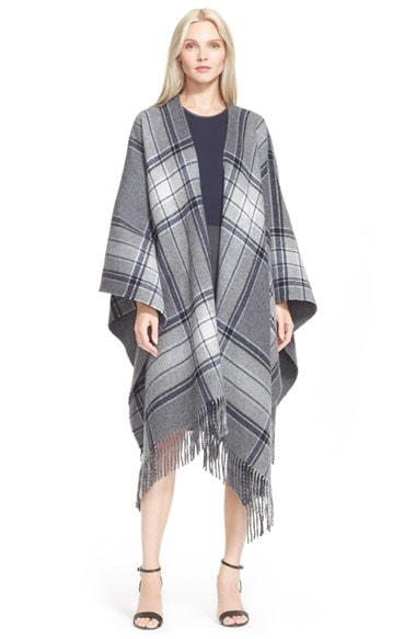 Women's Theory 'Saiome' Plaid Wool Blend Poncho