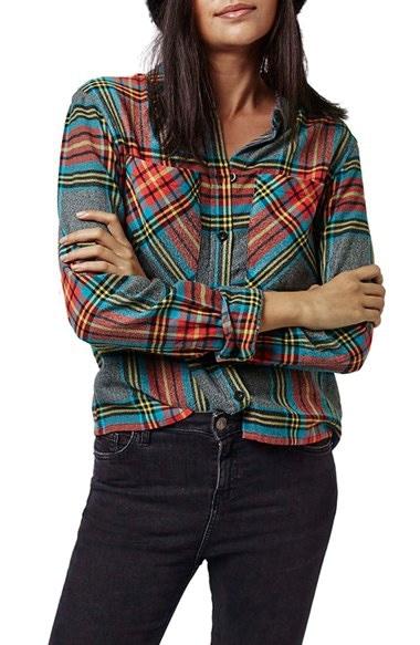 Women's Topshop Tartan Plaid Shirt
