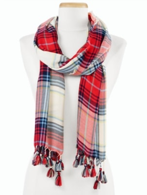 Talbots Women's Holiday Plaid Scarf