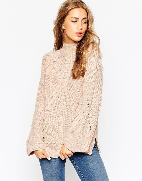 ASOS Chunky Sweater With High Neck And Moving Rib