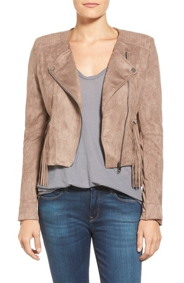 Women's Love Fate Destiny Faux Suede Moto Jacket with Fringe,