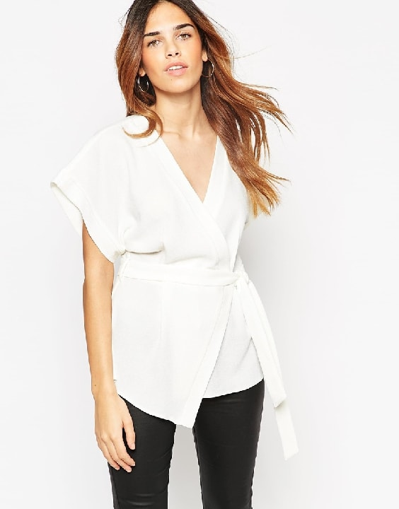 ASOS Obi Band Wrap Blouse - Ivory