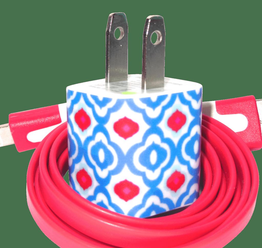 Blue Red Quatrefoil