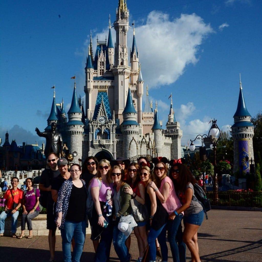 ADult Friends Group Shot Magic Kingdom Cinderella Castle