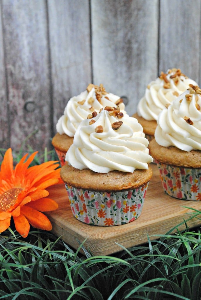 Carrot Cupcake Recipe Topped With Pecans