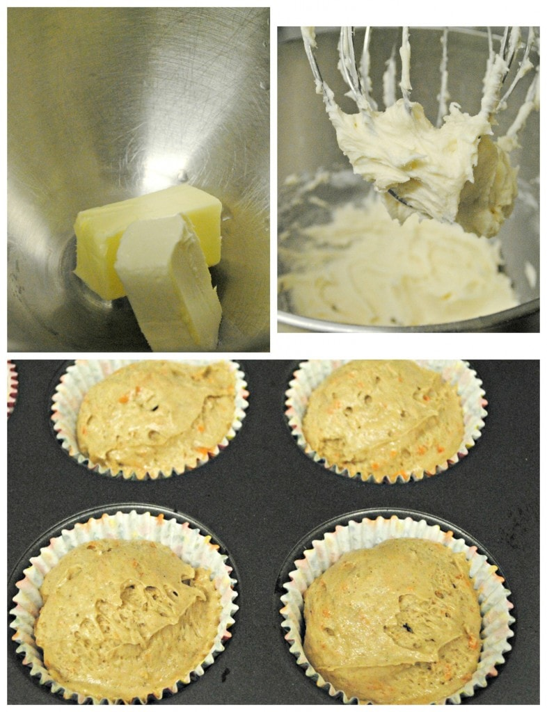 whipping butter and batter to make cupcakes