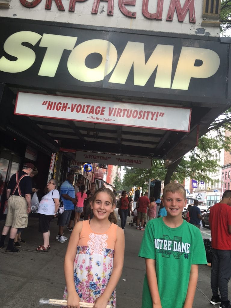 Getting drumsticks at Stomp NYC Off Broadway Show