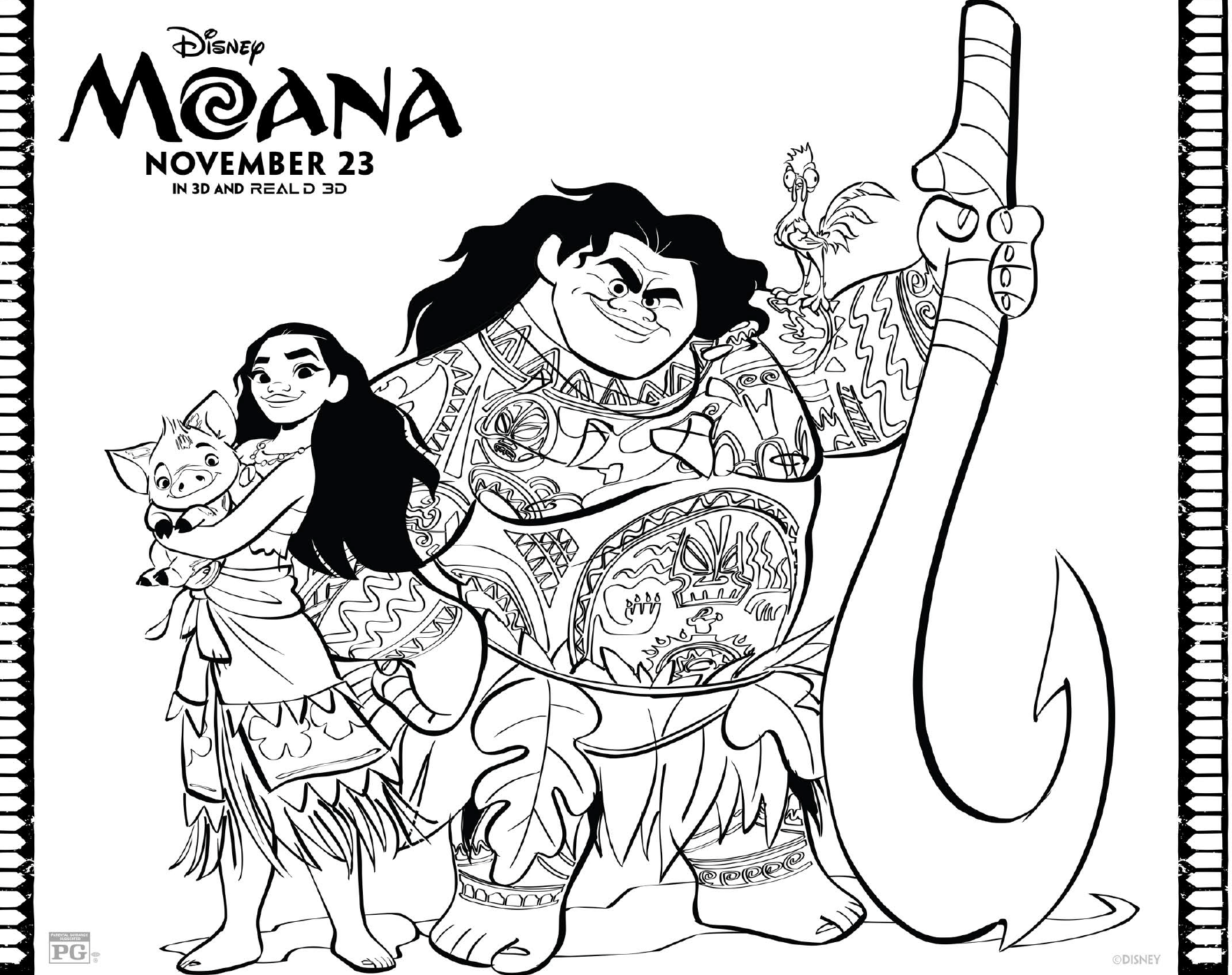 Coloring Pages Disney Jessie On Images Free Download At Channel: Free Moana Coloring Pages: Free Disney Printables And