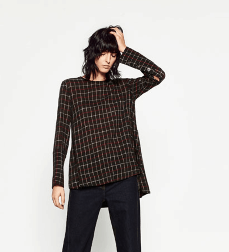The Zara Checked Tunic model