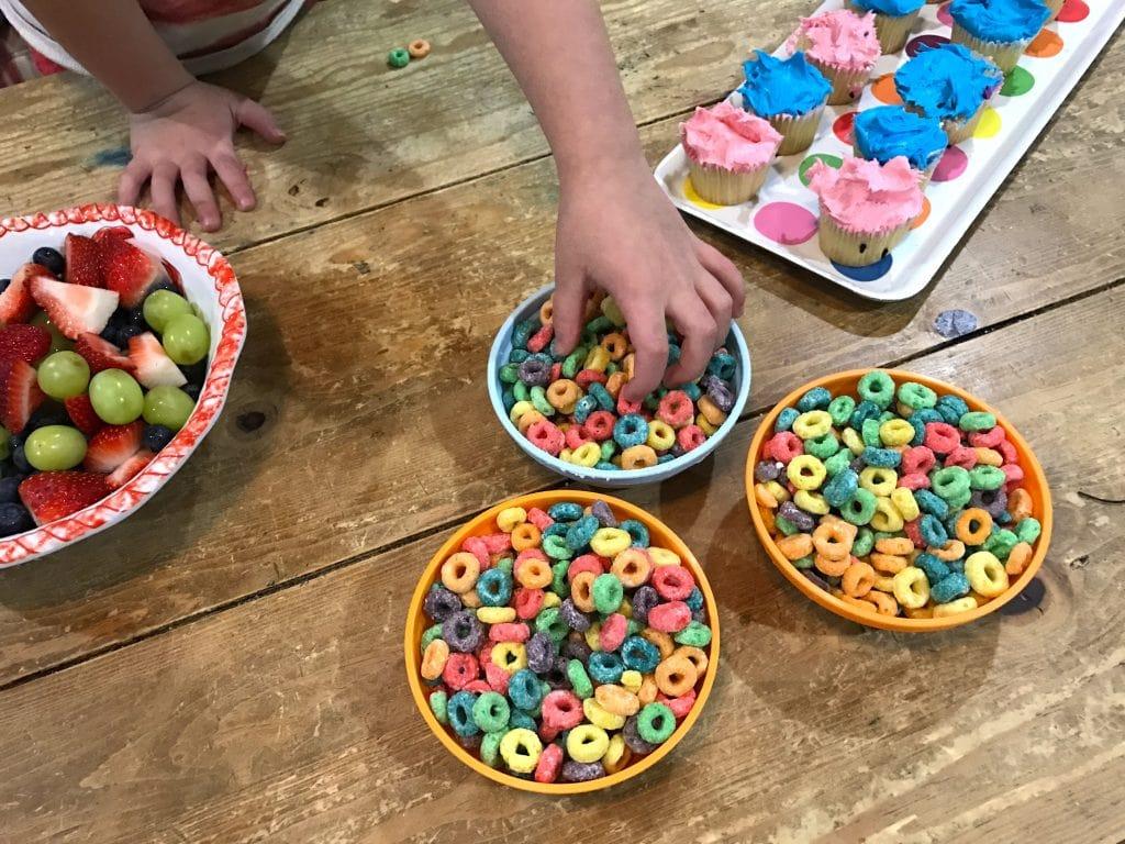 trolls party idea - colorful snacks